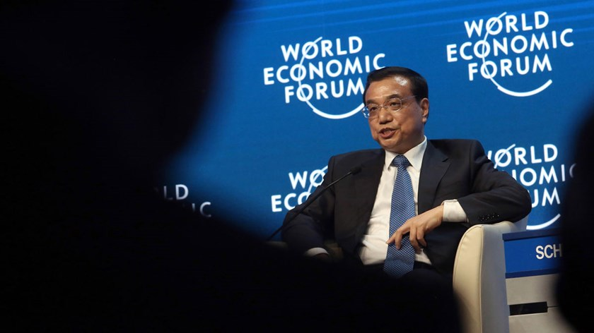 Li Keqiang, China's premier, speaks during a session on the opening day of the World Economic Forum in Davos, Switzerland, on Jan. 21, 2015.