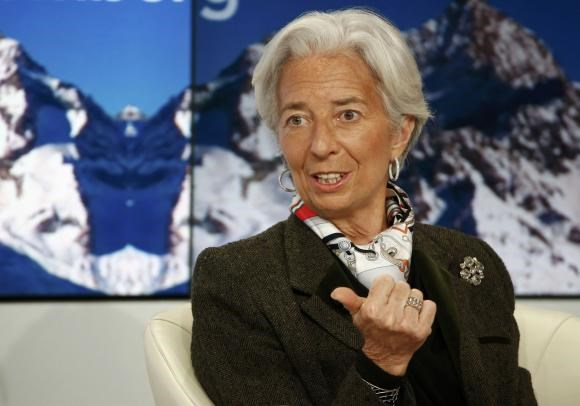 Christine Lagarde, Managing Director of the International Monetary Fund (IMF), speaks at the Ending the Experiment event in the Swiss mountain resort of Davos January 22, 2015.