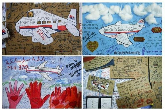 A combination photo shows drawings with messages of hope for passengers of missing Malaysia Airlines Flight MH370 at Kuala Lumpur International Airport (KLIA) outside Kuala Lumpur June 14, 2014.