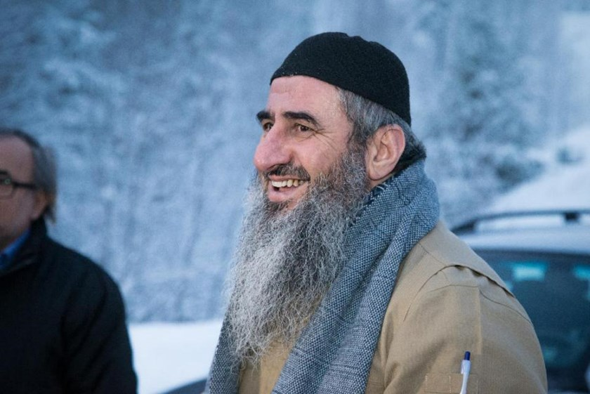 Najumuddin Faraj Ahmad, better known as Mullah Krekar, is pictured following his release from Kongsvinger prison in Norway on January 25, 2015