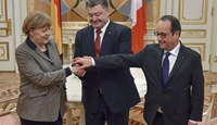 Ukraine's President Petro Poroshenko (C) shakes hands with German Chancellor Angela Merkel and French President Francois Hollande during their meeting in Kiev, February 5, 2015.