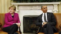 President Obama meets with German Chancellor Angela Merkel to discuss the crisis in Ukraine at the White House, February 9, 2015.