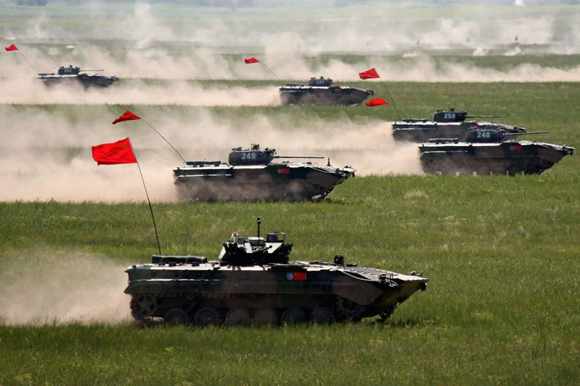 Chinese armored vehicles attend the Sino-Russian 'Peace Mission 2009' joint military exercise on July 26, 2009.