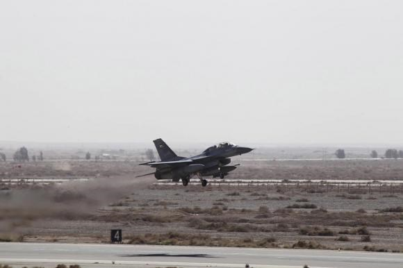 A Royal Jordanian Air Force plane takes off from an air base to strike the Islamic state in the Syrian city of Raqqa February 5, 2015.