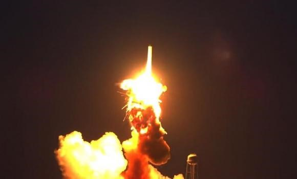 An unmanned Antares rocket is seen exploding seconds after lift off from a commercial launch pad in this still image from video shot by Matthew Travis of Zero-G News from the press area at Wallops Island, Virginia October 28, 2014.
