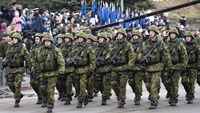 Estonian troops parade in Tallinn, Estonia, Tuesday, Feb. 24, 2014. People are celebrating Independence Day in Tallinn, Estonia