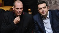 As Greek Prime Minister Alexis Tsipras, right, and his Finance Minister, Yianis Varoufakis, locked horns with the euro region, there was a show of support with thousands of people rallying in Athens. Photo: AFP