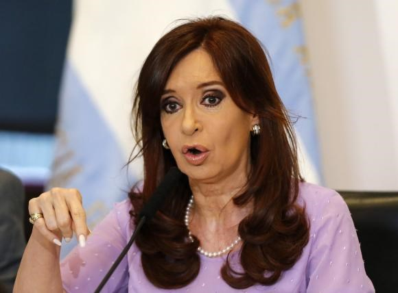 Argentina's President Cristina Fernandez at the Casa Rosada government house in Buenos Aires February 11, 2015.
