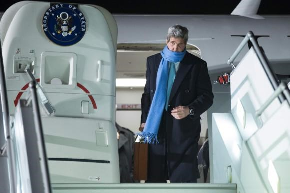 U.S. Secretary of State John Kerry arrives at Geneva International airport March 1, 2015.