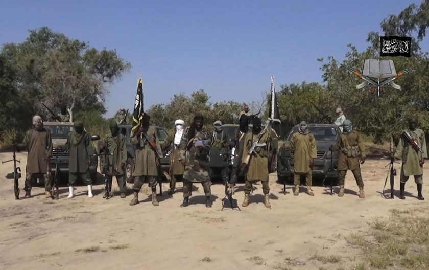 Boko Haram Fighters seen in an image taken from a previously released video by Boko Haram.