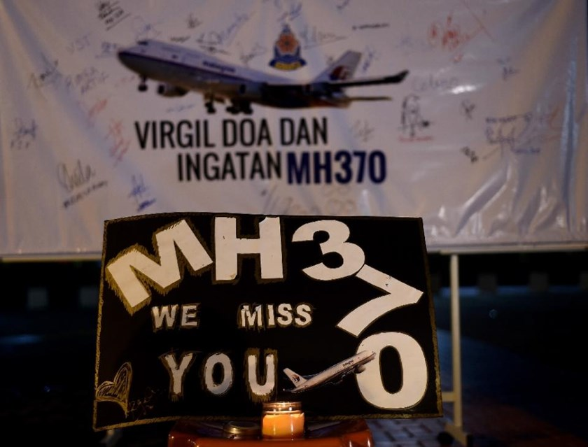 A board bearing solidarity messages is seen during a gathering to mark the one-year anniversary of the disappearance of Malaysia Airlines flight MH370, in Kuala Lumpur on March 6, 2015