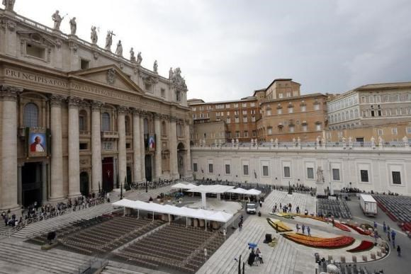 An overview of St. Peter's Basilica at the Vatican, April 26, 2014.