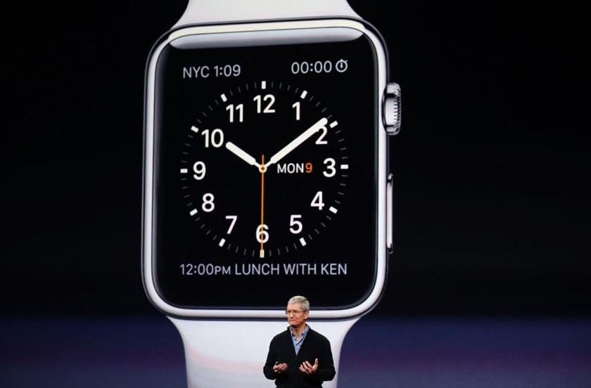 Apple CEO Tim Cook introduces the Apple Watch.