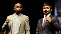 Boxers Manny Pacquiao (R) and Floyd Mayweather come face to face Wednesday for the first time at a press conference on March 11, 2015