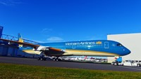 The first A350 XWB Vietnam Airlines contracted to buy from Airbus is seen outside the Airbus paint shop in France.