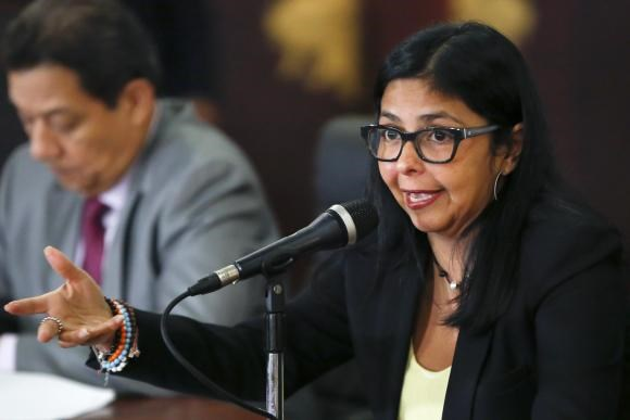 Venezuelan Foreign Minister Delcy Rodriguez speaks to the media during a news conference in Caracas March 9, 2015.