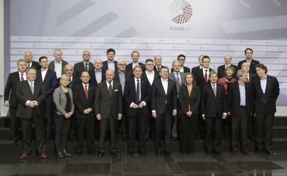 European Union Foreign Ministers pose for the media during their informal European Union Ministers of Foreign Affairs meeting (Gymnich) in Riga March 6, 2015.