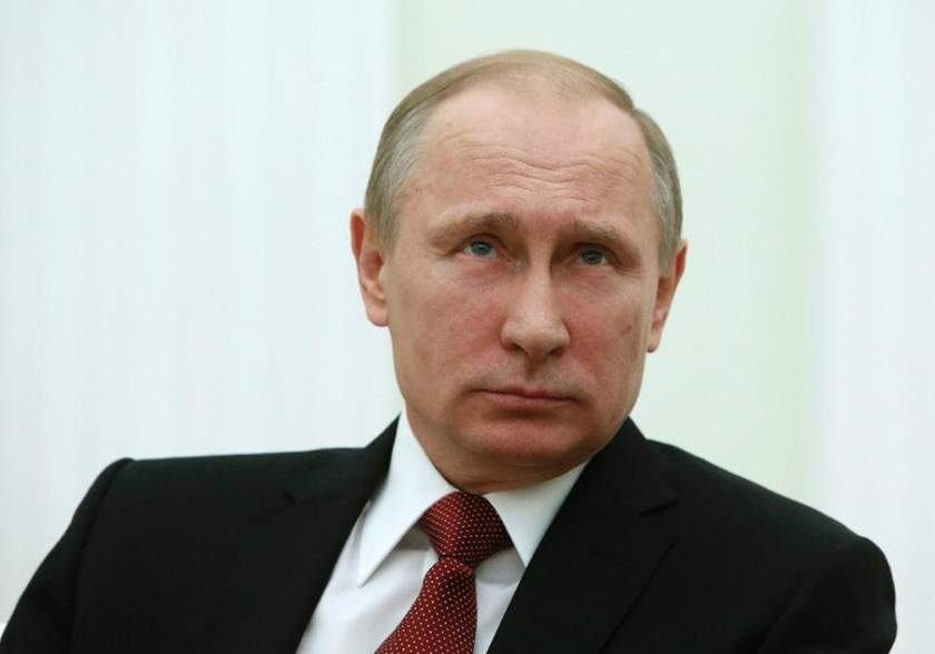 Russian President Vladimir Putin during his most recent public event with Italian Prime Minister Matteo Renzi in Moscow on March 5, 2015