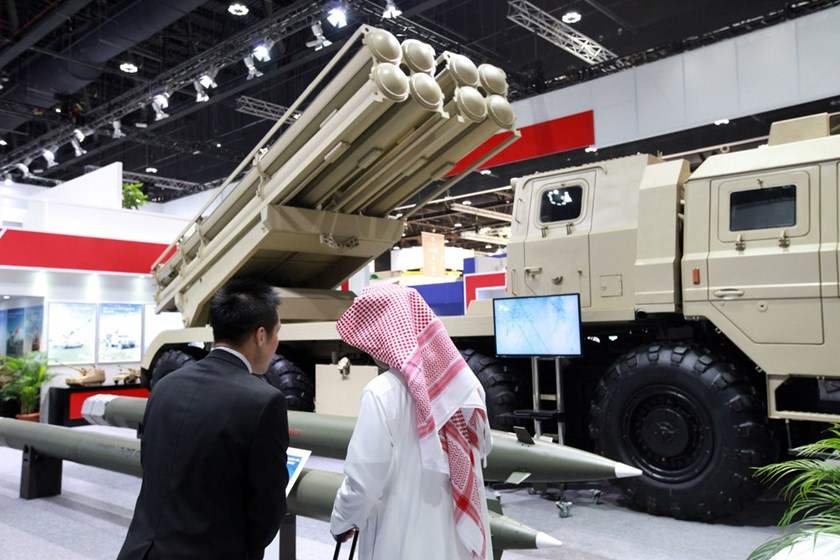 A multiple rocket launch system was on display at the Norinco Group pavilion at an international defense exhibition in Abu Dhabi in February.