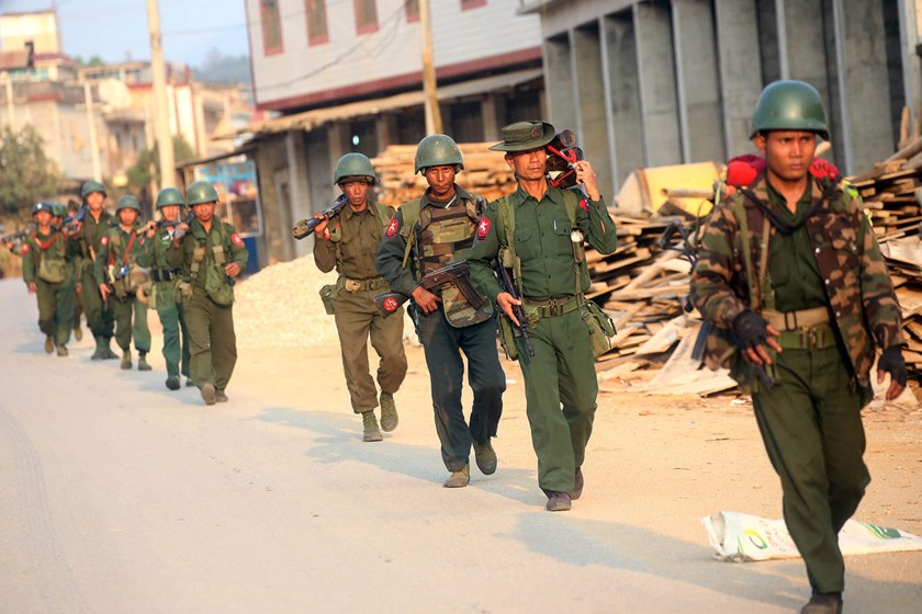 Myanmar soldiers patrol in Laukkai, the main city in the Kokang region of northern Myanmar Shan state.