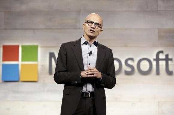 Microsoft Corp Chief Executive Satya Nadella speaks at his first annual shareholders' meeting in Bellevue, Washington December 3, 2014.