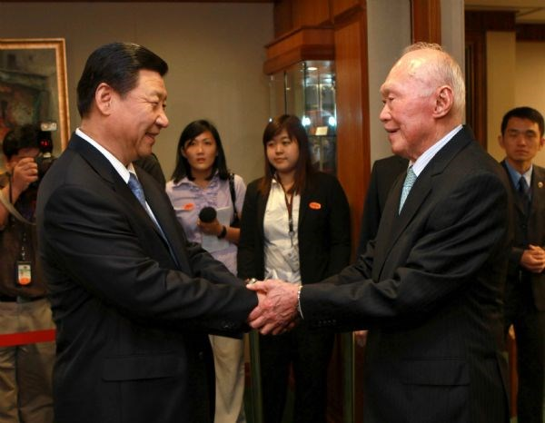 File picture of China's President Xi Jinping (left) and Singapore's founding father Lee Kuan Yew taken in 2010. Photo courtesy: Xinhua