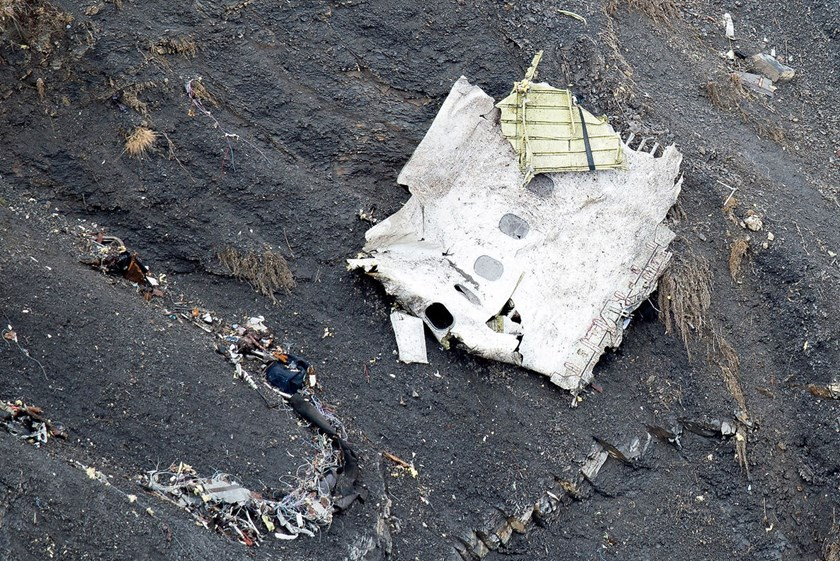 In this handout image supplied by the French Interior Ministry, search and rescue teams attend the crash site of the Germanwings Airbus in the French Alps near Seyne, France, on March 25, 2015.