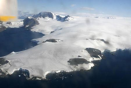 A large floating ice mass is seen in the Antarctic Peninsula March 9, 2008.