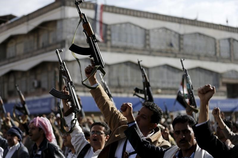 Followers of the Houthi demonstrate against the Saudi-led air strikes on Yemen, in Sanaa April 1, 2015.