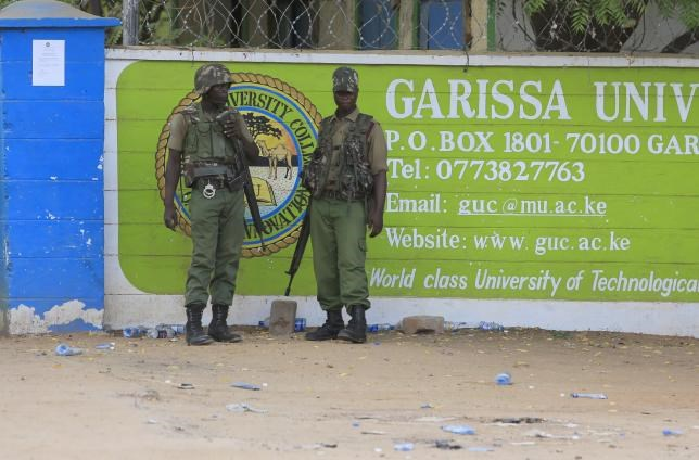 Kenya Administration policemen stand in front of Garissa University College in Garissa April 4, 2015.