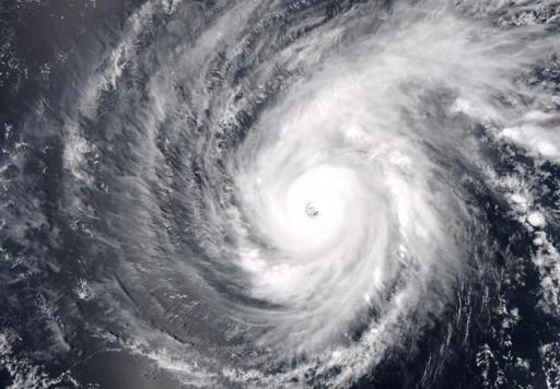 A NOAA satellite image of Super Typhoon Maysak making its way towards the Philippines