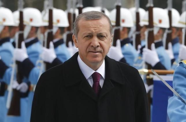 Turkey's President Tayyip Erdogan arrives for a welcoming ceremony at the Presidential Palace in Ankara, March 3, 2015.