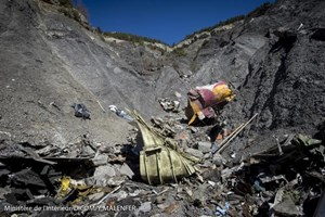 A general view of debris, seen in this picture made available to the media by the French Interior Ministry April 1, 2015, from the wreckage of a Germanwings Airbus A320 which crashed, near Seyne-les-Alpes.