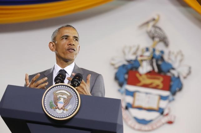 U.S. President Barack Obama participates in a town hall meeting with young Caribbean leaders at the University of the West Indies in Kingston, Jamaica April 9, 2015.