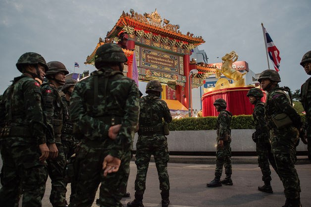 Thai soldiers patrol in the Chinatown area of Bangkok on Feb. 18, 2015.