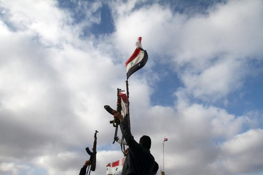 File picture shows Syrian government soldiers in the key southern city of Sweida