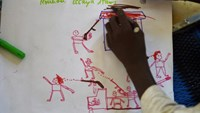 Bloody faces, headless bodies, burned houses -- these are some of the stark and haunting images drawn by children who have fled deadly Boko Haram violence in neighbouring Nigeria for the relative safety of a refugee camp in western Chad