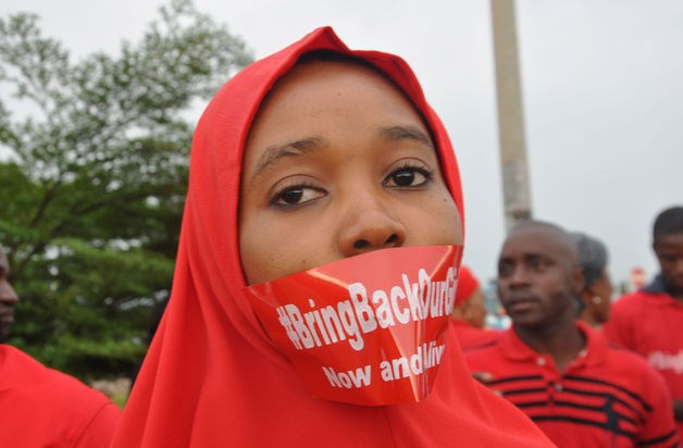 A woman attends a demonstration in Abuja, Nigeria, calling on the government to rescue the kidnapped girls of the government secondary school in Chibok.