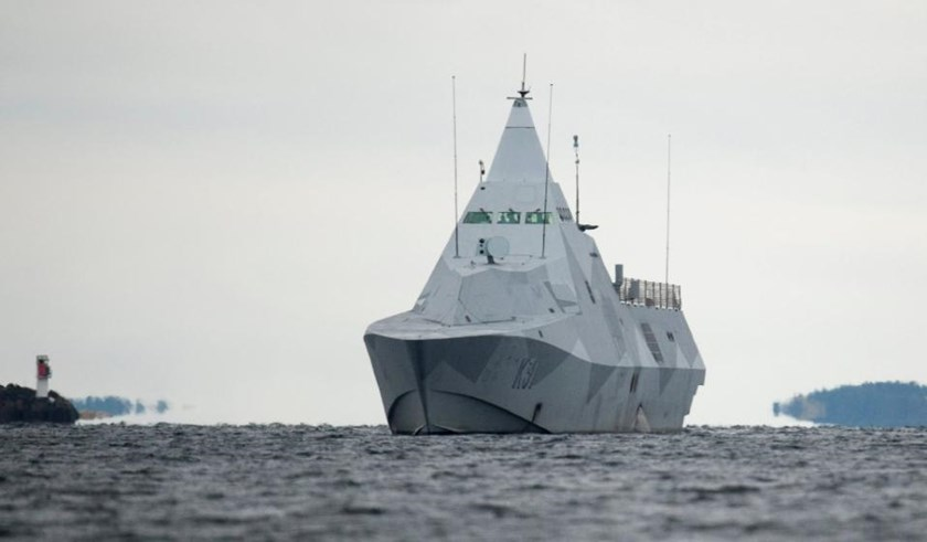 Swedish corvette HMS Visby pictured on October 21, 2014 during the search for a suspected foreign vessel in the Stockholm archipelago