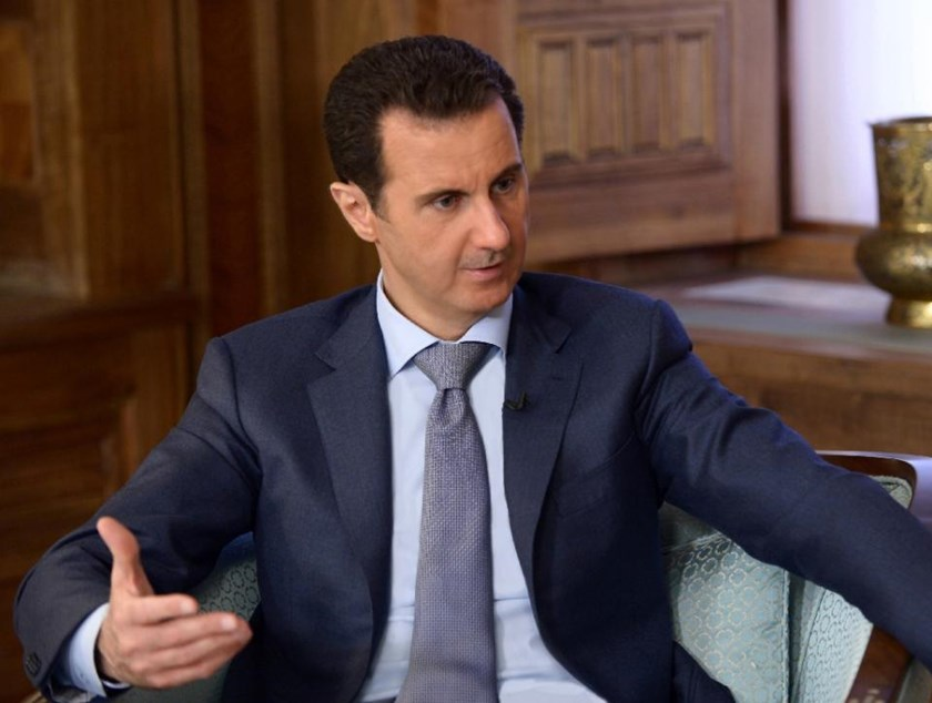 Syrian Arab News Agency handout showing President Bashar al-Assad during an interview with the Swedish newspaper Expressen in Damascus on April 17, 2015
