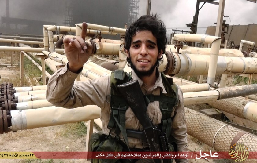 An Islamic State fighter inside the Baiji oil refinery complex.