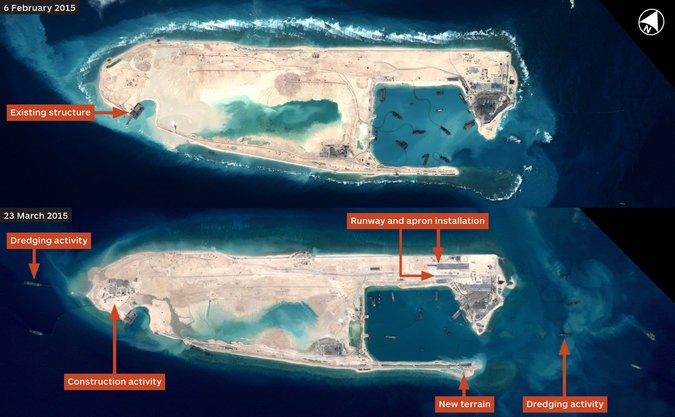 Satellite images released by Jane's Defense Weekly show that, between Feb. 6 and March 23, China built the first section of a concrete runway on Fiery Cross Reef in the Spratly Islands archipelago, which at least three other countries claim. Credit Centre