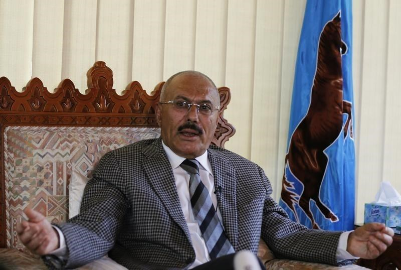 Yemen's former President Ali Abdullah Saleh talks during an interview with Reuters in Sanaa May 21, 2014.