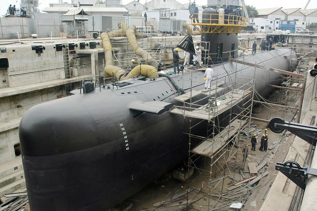 An Agosta 90 B submarine sits at Pakistan's Navy Dockyard in Karachi. China is expected to conclude a sale of eight submarines during President Xi Jinping's visit to Islamabad on April 20, more than doubling Pakistan's fleet.