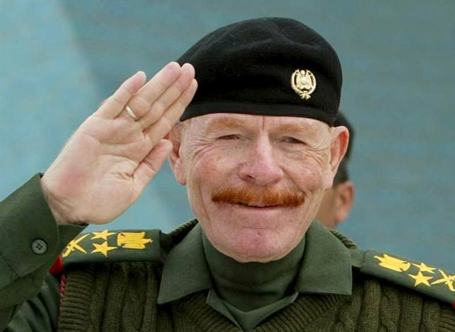 Ezzat Ibrahim al-Douri is seen during a military celebration in Baghdad in this February 16, 2003 file photo.