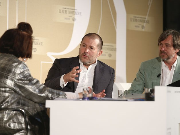 International Vogue Editor Suzy Menkes, Apple's vice president of design, Jonathan Ive, and designer Marc Newson attend the Condé Nast International Luxury Conference at Palazzo Vecchio on April 22, 2015, in Florence, Italy.