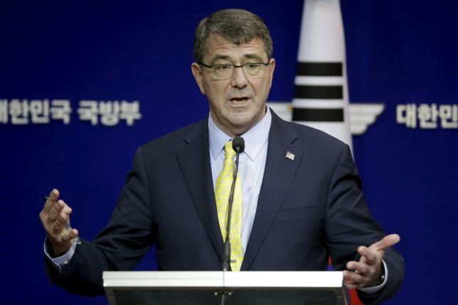 U.S. Defense Secretary Ash Carter answers reporters' question during a joint news conference with his South Korean counterpart Han Min Koo at the Defense Ministry in Seoul, South Korea, Friday, April 10, 2015.
