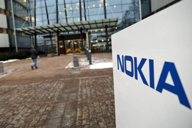 The Nokia company logo is pictured at its headquarters in Espoo January 29, 2015.
