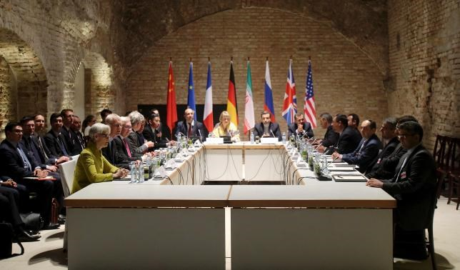 Negotiators of Iran and six world powers hold meeting on Iranian nuclear deal at the historic basement of Palais Coburg hotel in Vienna April 24, 2015.