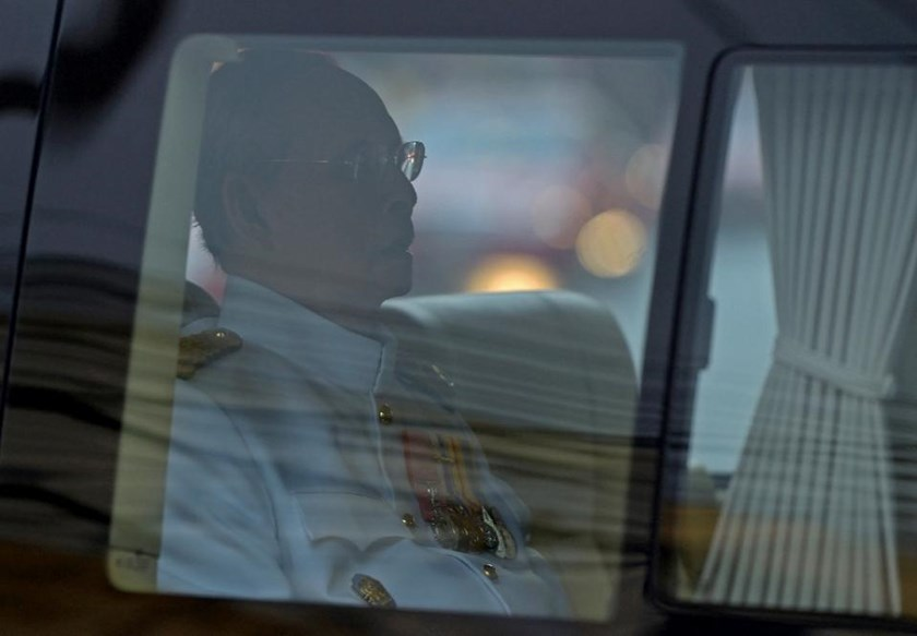 Thai King Bhumibol Adulyadej leaves Siriraj hospital for Coronation Day celebrations, in Bangkok, on May 5, 2015